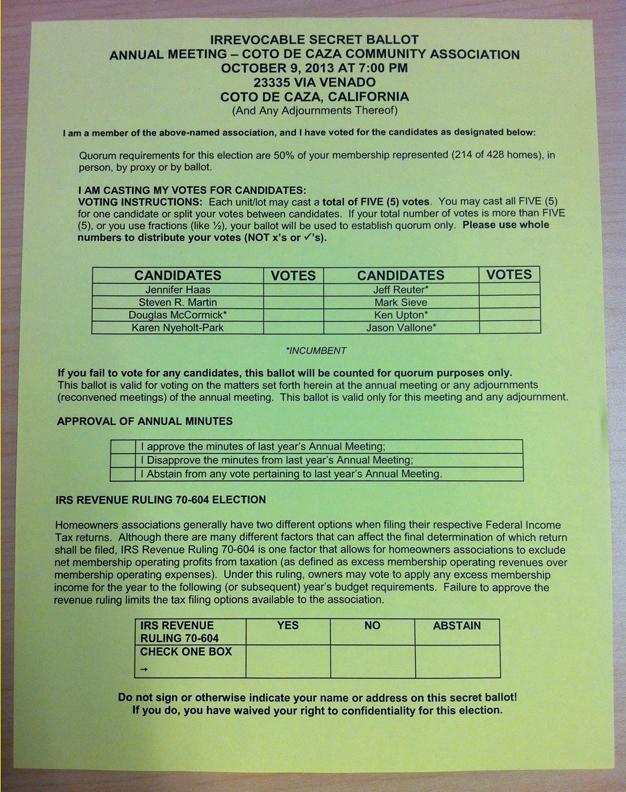 2013 ballot
